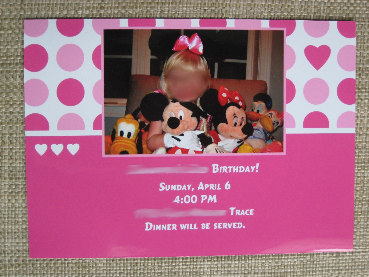 Shutterfly Minnie Mouse Invite
