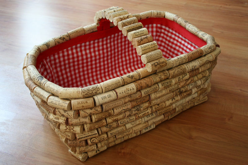 Basket Made with Wine Corks