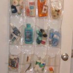 Using over-the-door shoe holders to organize a bathroom closet