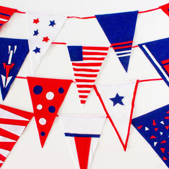 Easy Fourth of July felt pennants