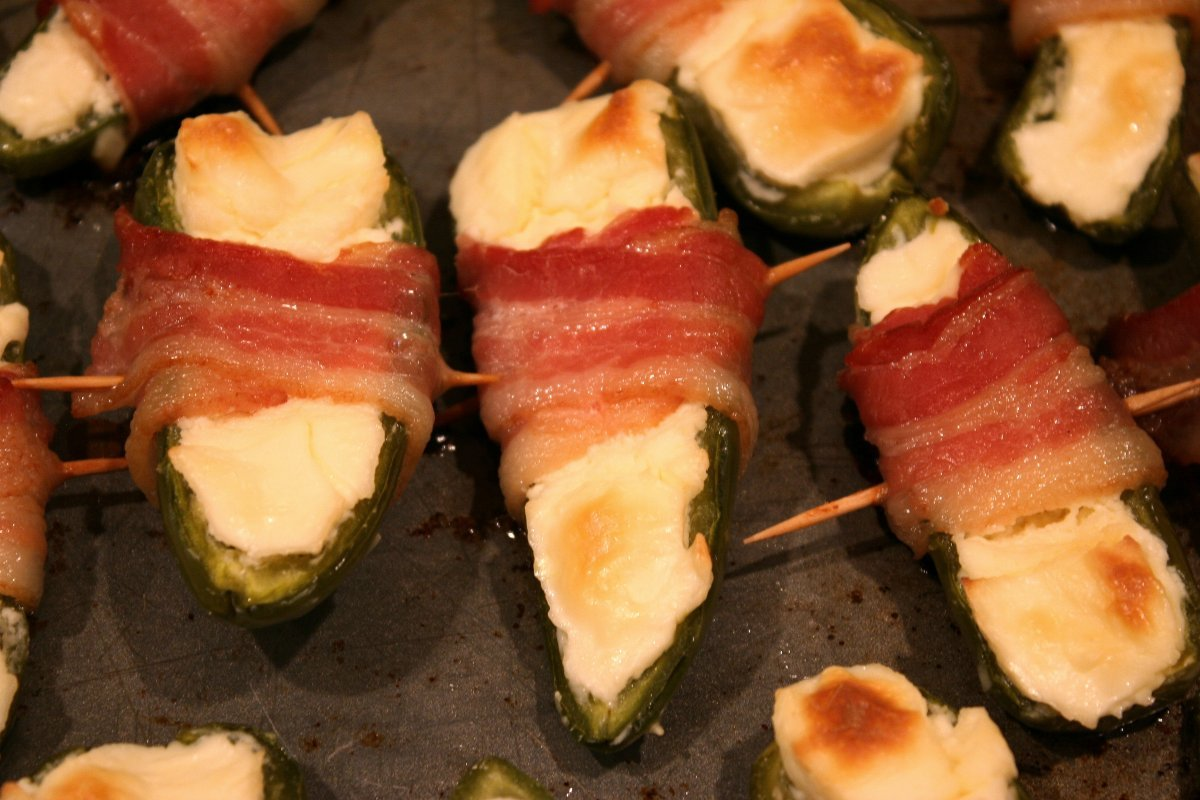 ... cheese, wrapped them with bacon, and cooked. And then we ate 'em up