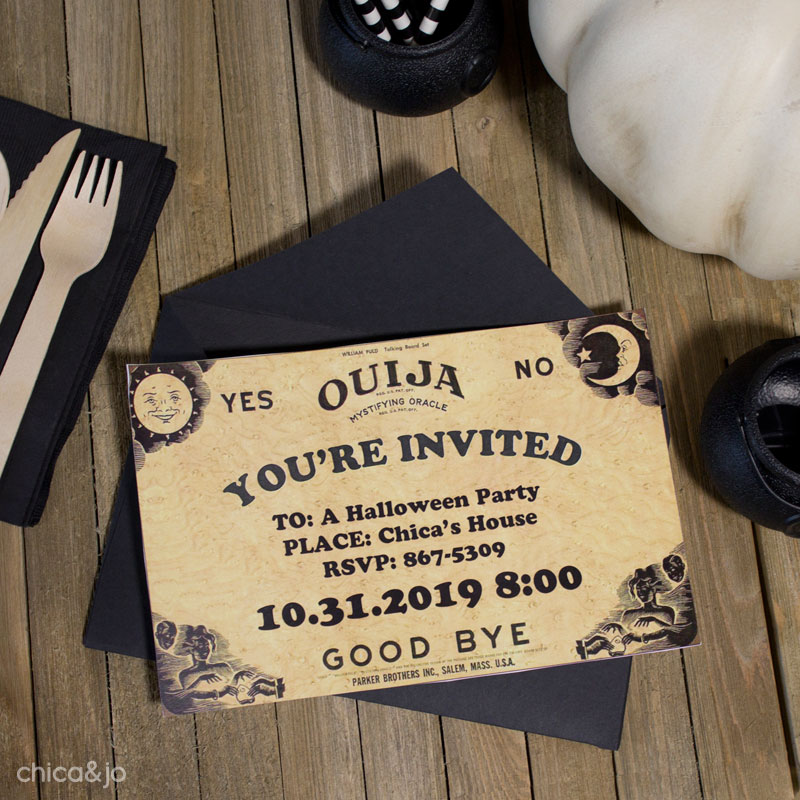 ouija board party invitation chica and jo. Black Bedroom Furniture Sets. Home Design Ideas