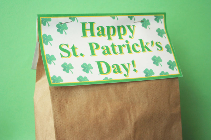 St. Patrick's Day treat bag tags