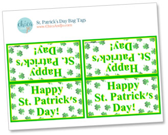 photograph regarding Printable Cardstock Tags called St. Patricks Working day handle bag tags Chica and Jo