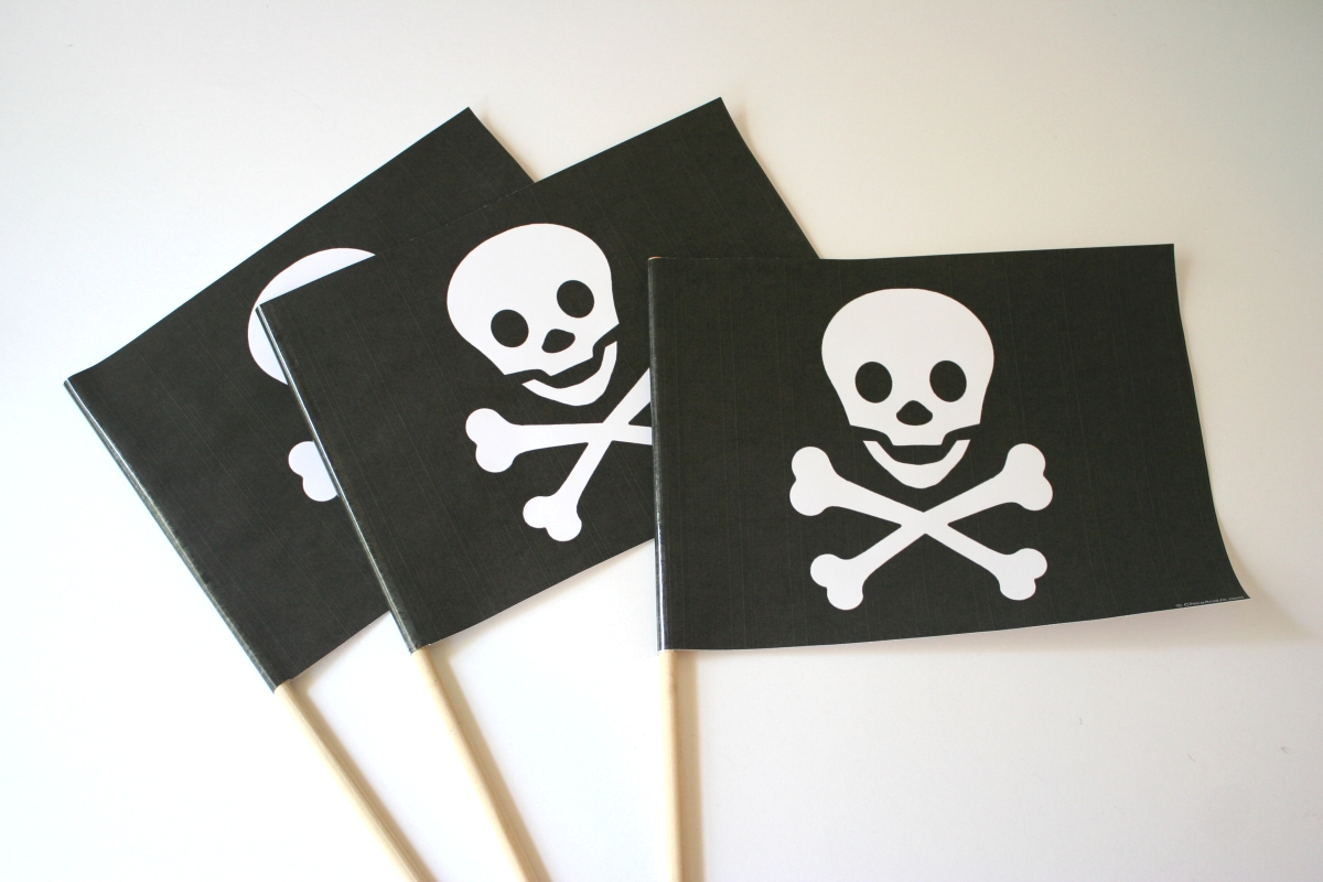 picture regarding Pirate Flag Printable titled Pirate social gathering favors Chica and Jo