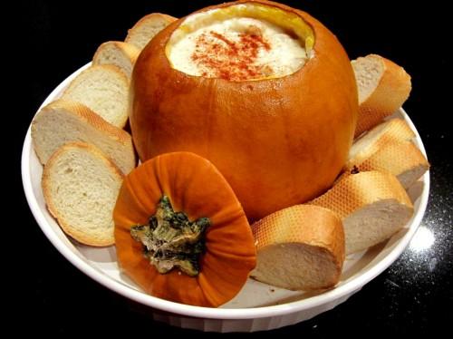 baked pumpkin cheese fondue