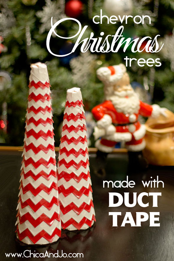 chevron christmas tree craft with duct tape