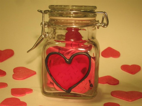 Valentine's Day jar of hearts