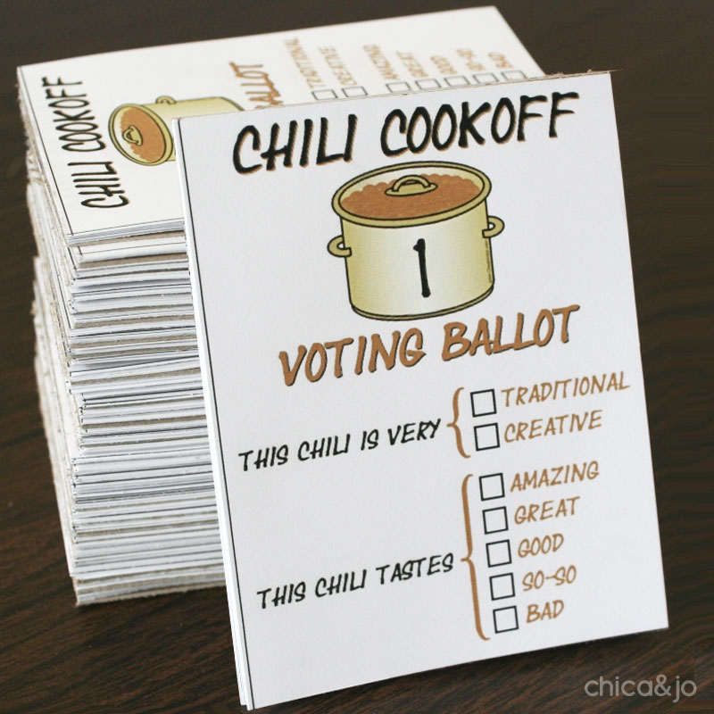 Chili cook-off voting ballots and scoresheets | Chica and Jo