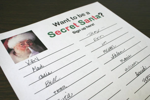 Downloadable Secret Santa sign-up sheet