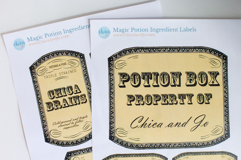 photograph regarding Harry Potter Apothecary Labels Free Printable called Magic potion aspect labels Chica and Jo