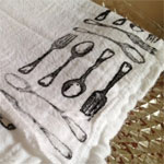 Hand-stamped flour sack dish towels