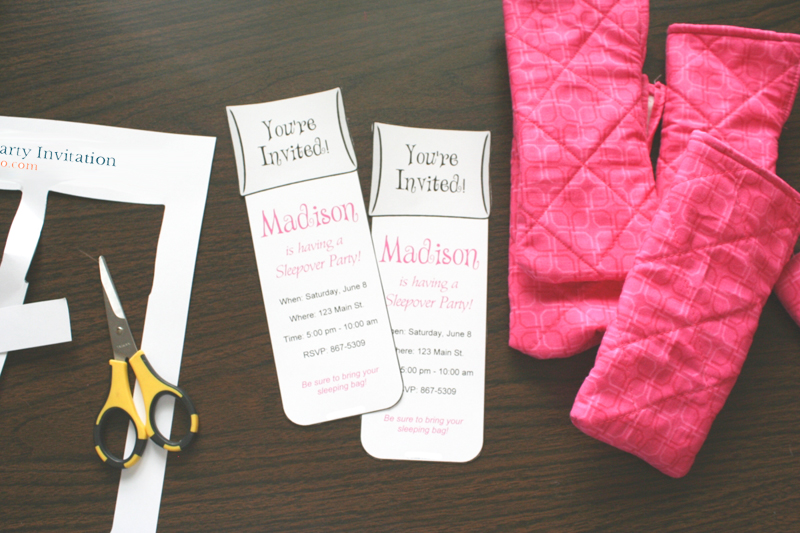 Slumber party invitations chica and jo you can get really creative here and match your party then print the invitations onto white cardstock and cut them out solutioingenieria Images