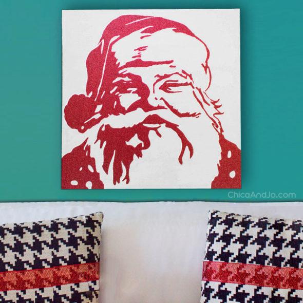 Pottery Barn Santa Christmas Glitter Canvas Knock Off