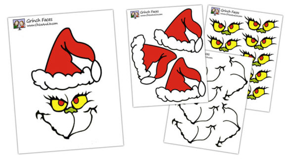 This is an image of Eloquent Free Printable Grinch Face Template