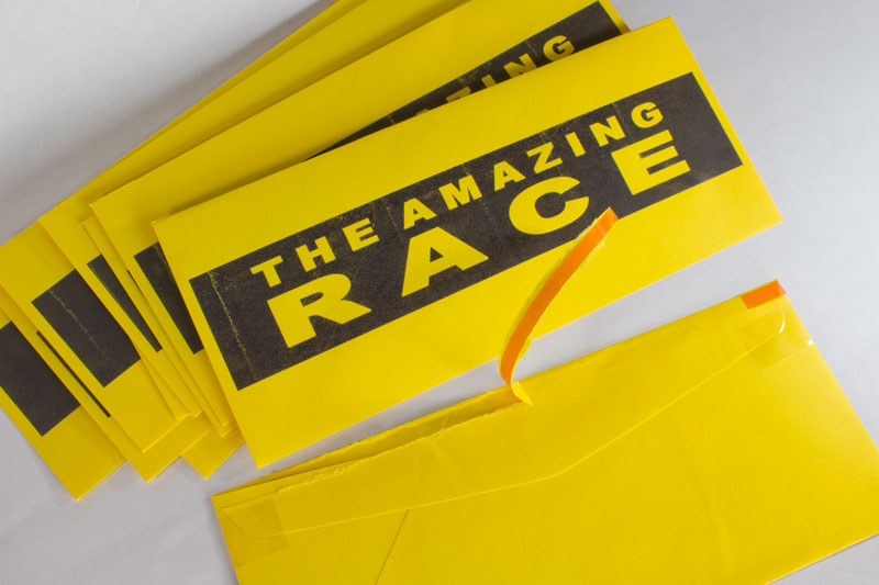 Amazing race tear strip envelopes chica and jo for The amazing race clue template