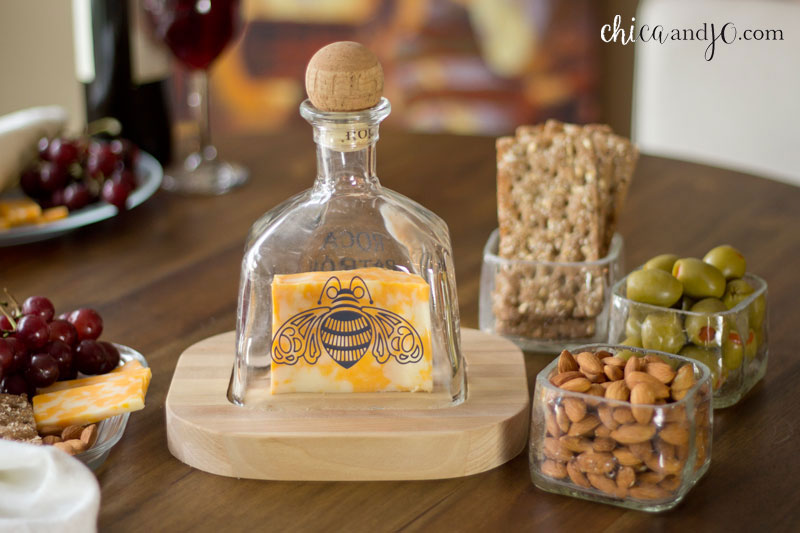 Upcycled Patron Bottle Cheese Serving Set Chica And Jo