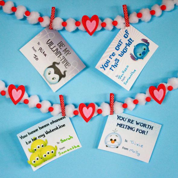 Disney Tsum Tsum printable Valentine's Day Cards