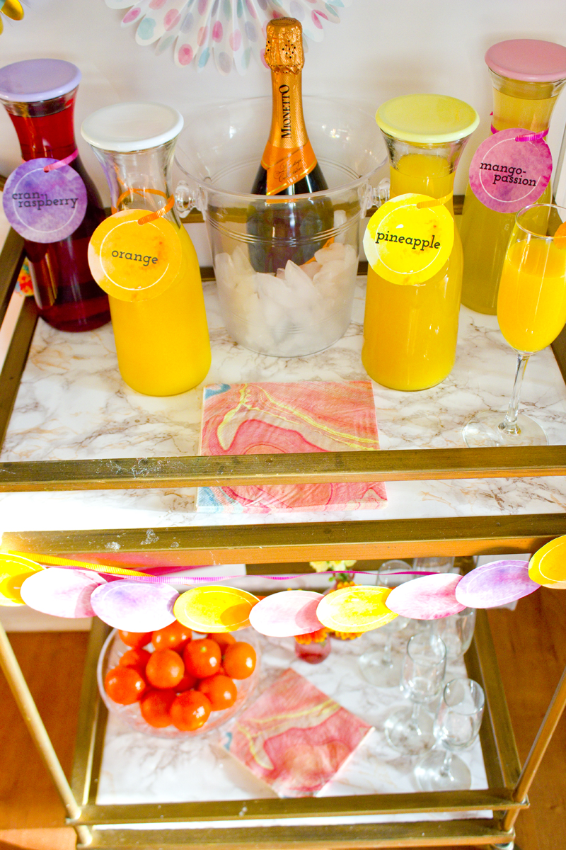 Mimosa Bar Cart With Watercolor Style Chica And Jo