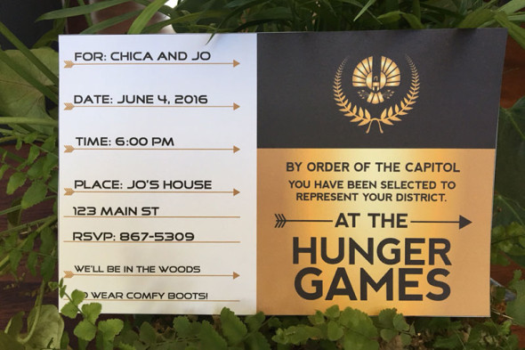 printable customizable Hunger Games party invitation