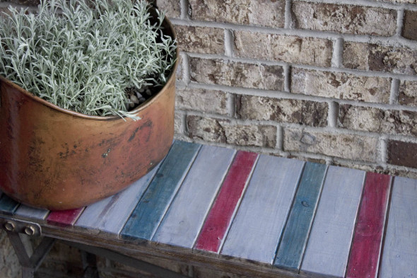 Color Stained Outdoor Bench 6
