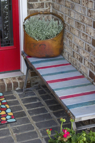 Color Stained Outdoor Bench 7