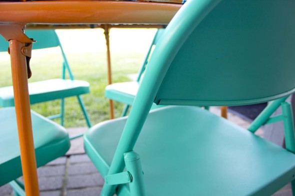 Flea market redo folding table and metal chairs