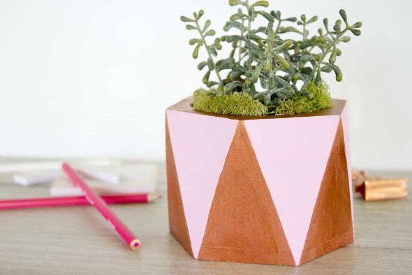 Pink and copper succulent planter