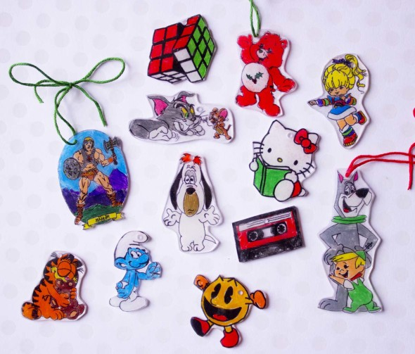 80s shrinky dink christmas ornaments