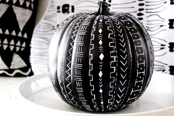 Mud cloth pattern inspired pumpkin