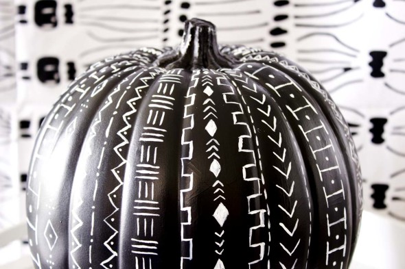Mudcloth pattern pumpkin