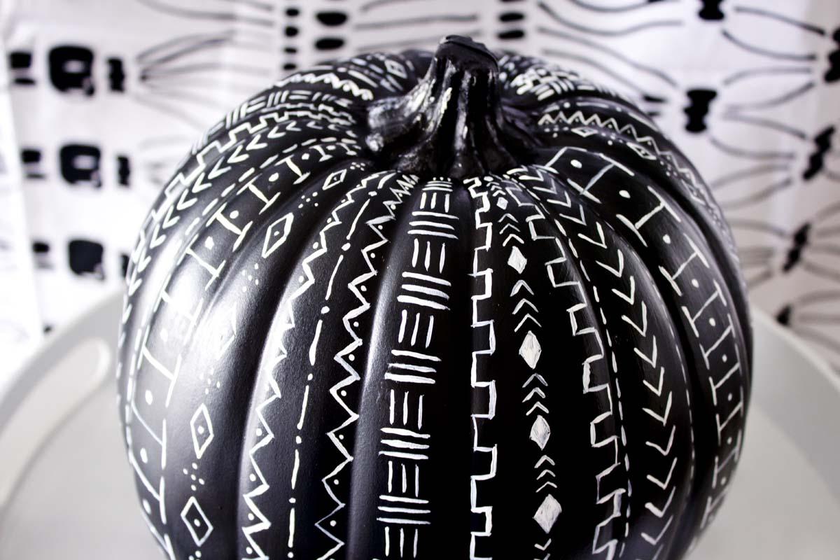mud cloth pattern inspired pumpkin