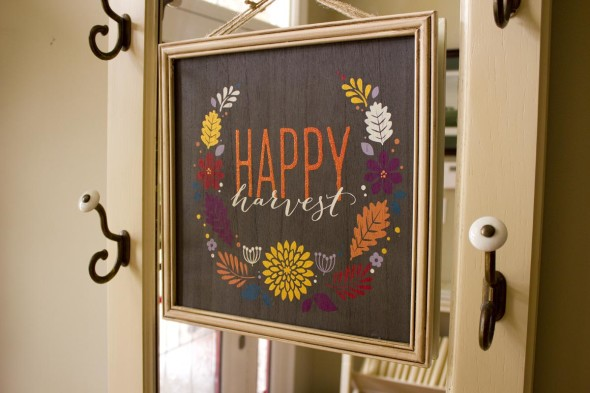 """Happy Harvest"" fall word art embellishment"