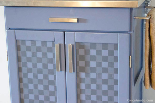 buffalo check kitchen cart makeover