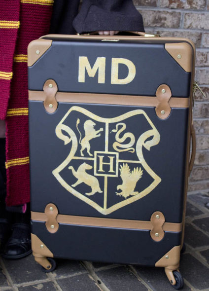 Harry Potter DIY custom rolling trunk.