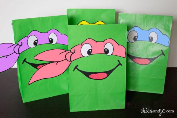 TMNT Teenage Mutant Ninja Turtles party favor bags girls pink