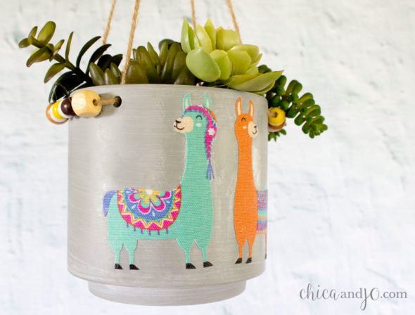 Llama decorated concrete planter from Target