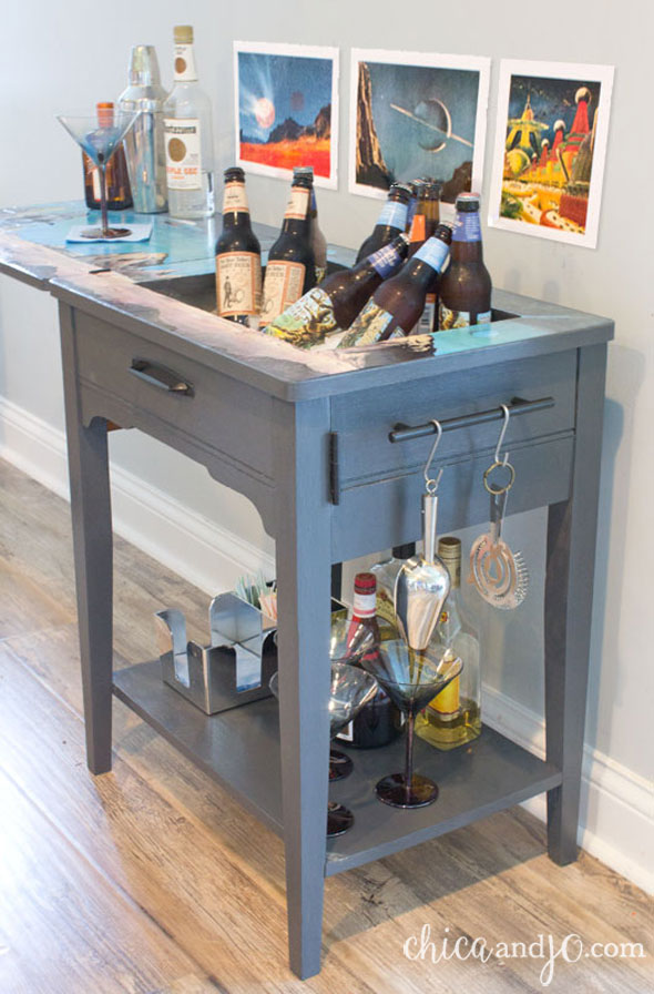 Turn a vintage sewing table into a bar cart