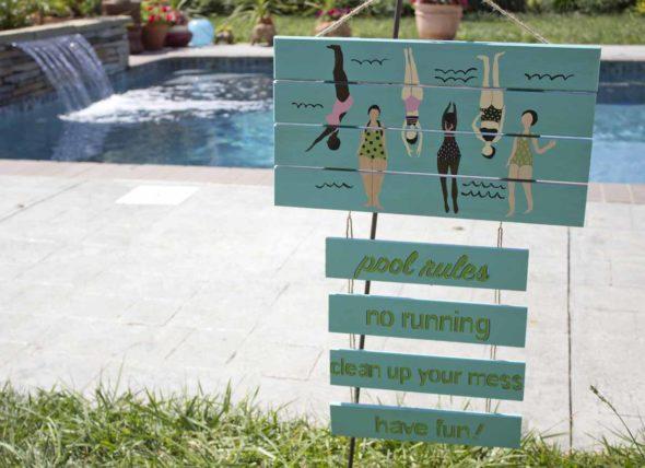 """DIY """"Pool Rules"""" sign"""