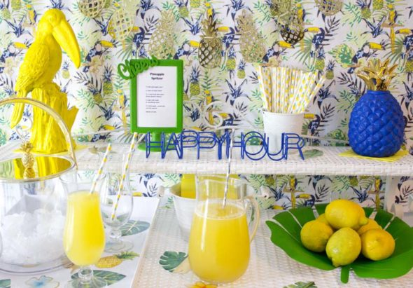 Toucan and pineapple themed summer cocktail party