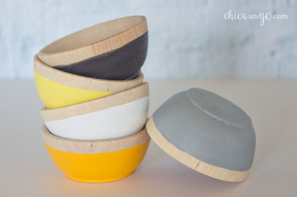 Paint-dipped mini wooden bowls