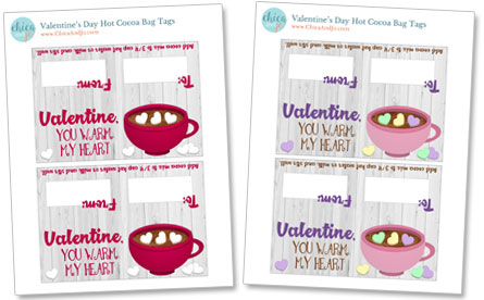Valentine hot cocoa mix bag tags