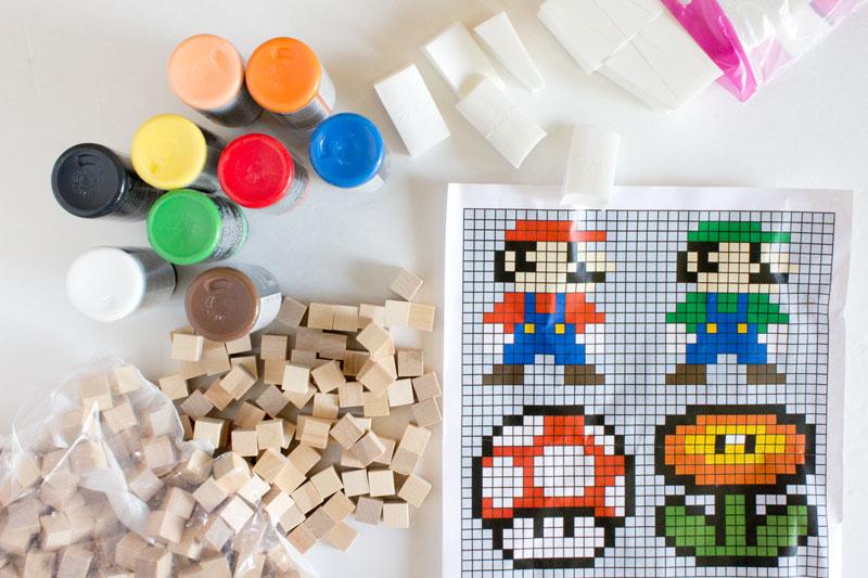 8 Bit Super Mario Brothers Wooden Block Pixel Art Pattern