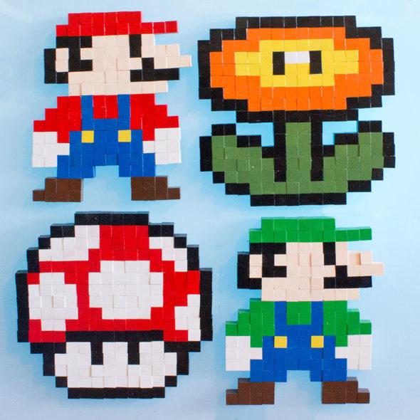 8bit super mario brothers wooden block pixel art pattern