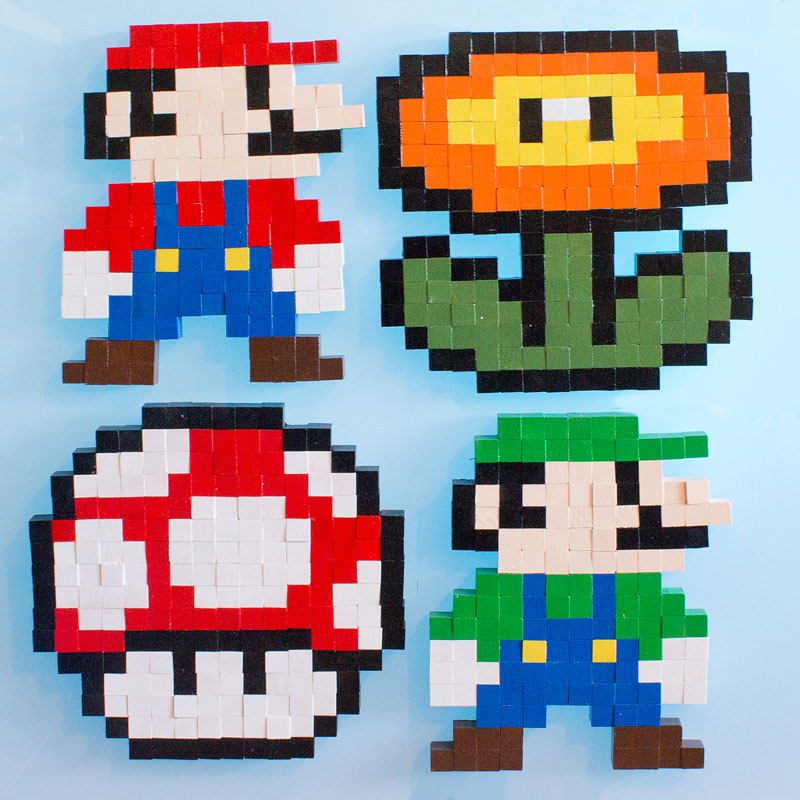 8 Bit Super Mario Brothers Wooden Block Pixel Art Pattern