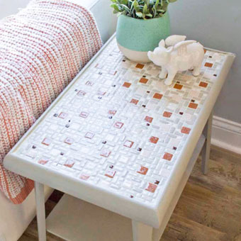 Tile top patio table makeover