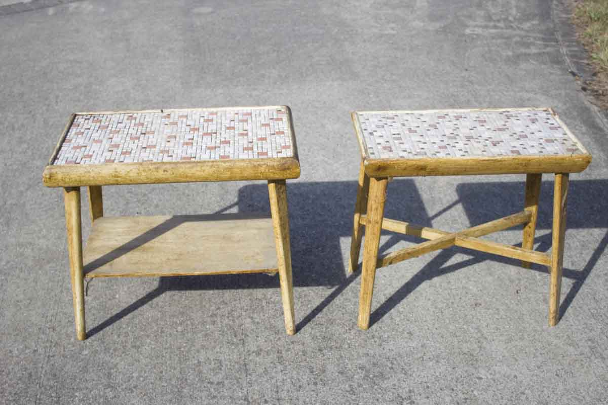 ... Two Vintage Side Tables. He Wasnu0027t Sure They Were Much Of A Gift Since  They Were Dirty And Missing Quite A Bit Of Grout, But All I Saw Was  Potential!