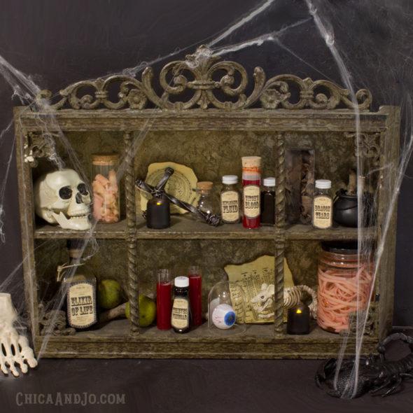 Creepy curiosities cabinet for Halloween