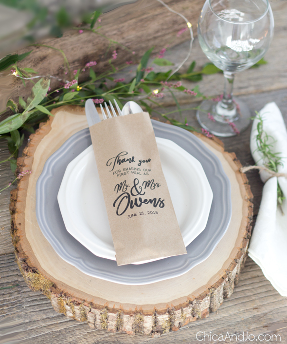 DIY custom printed silverware bags