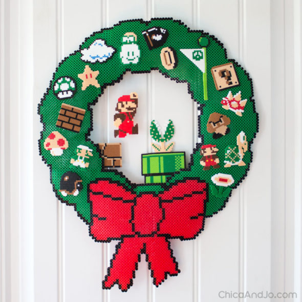 8-Bit Super Mario pixel art Christmas wreath